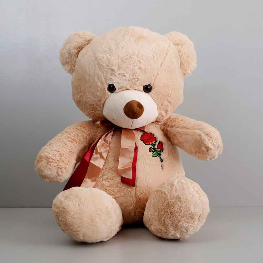 Teddy Bear With Rose Patch Beige