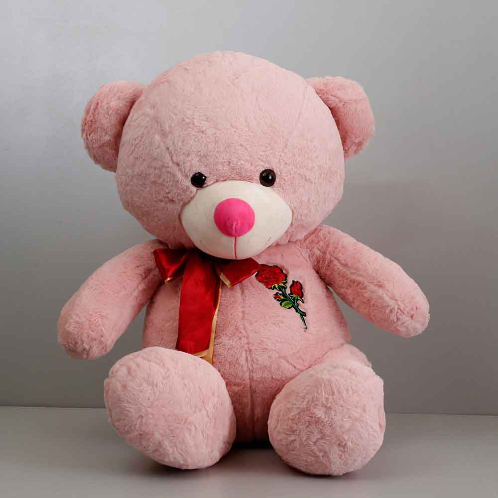 Romantic Toys-Teddy Bear With Rose Patch Pink