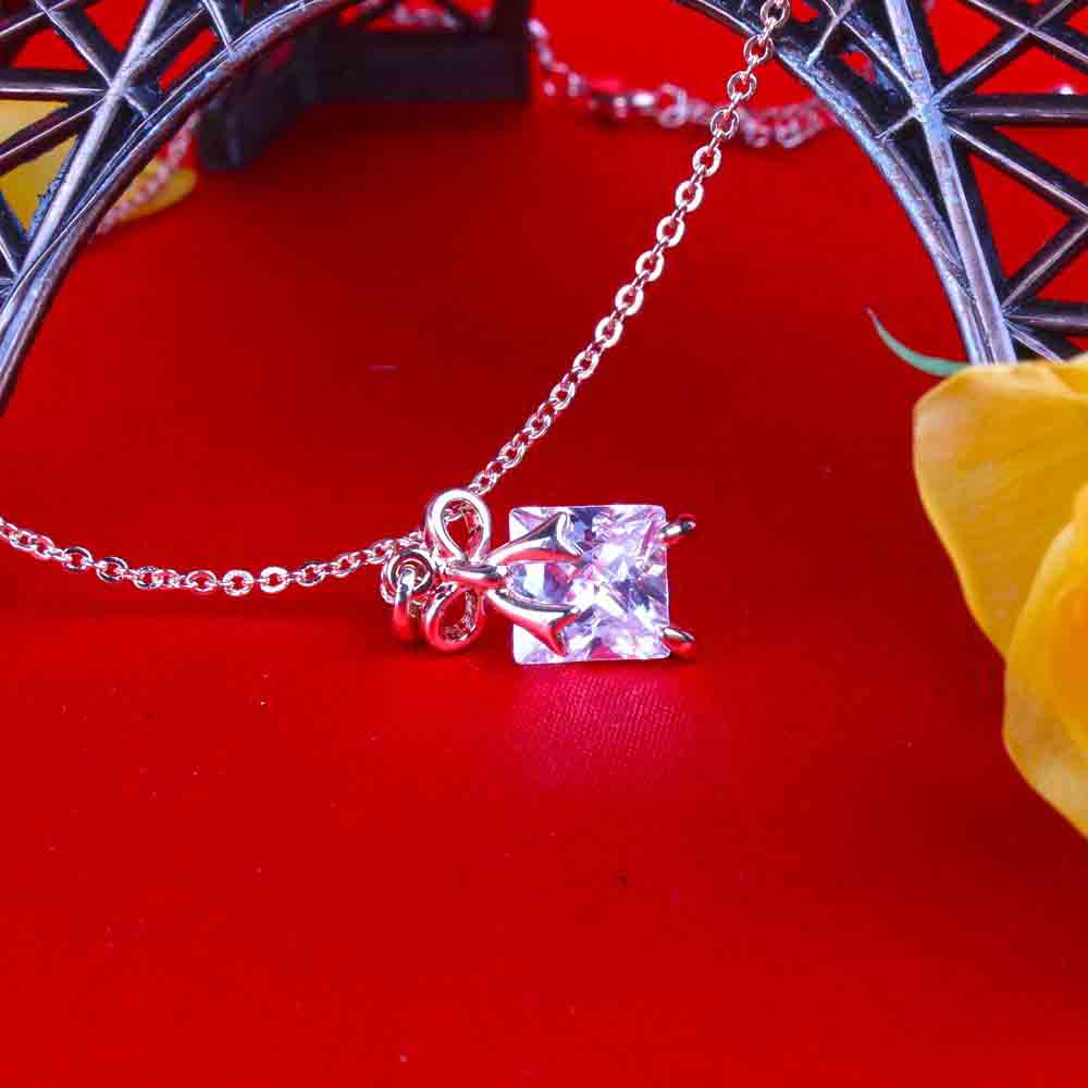 Jewelry-Shiny Diamond Pendant with Rose Gold Plated Chain for Love Lady