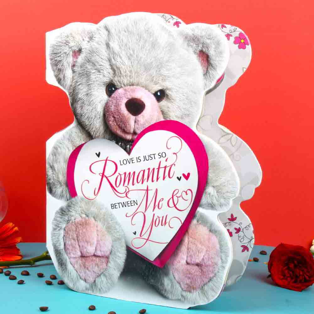 Monthly Message of Love Teddy Bear Shape Big Card