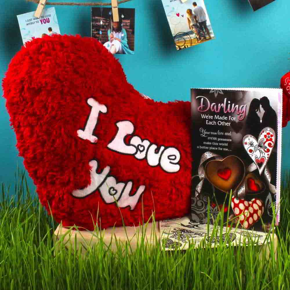 Love Greeting Card with Soft Heart Shape Cushion