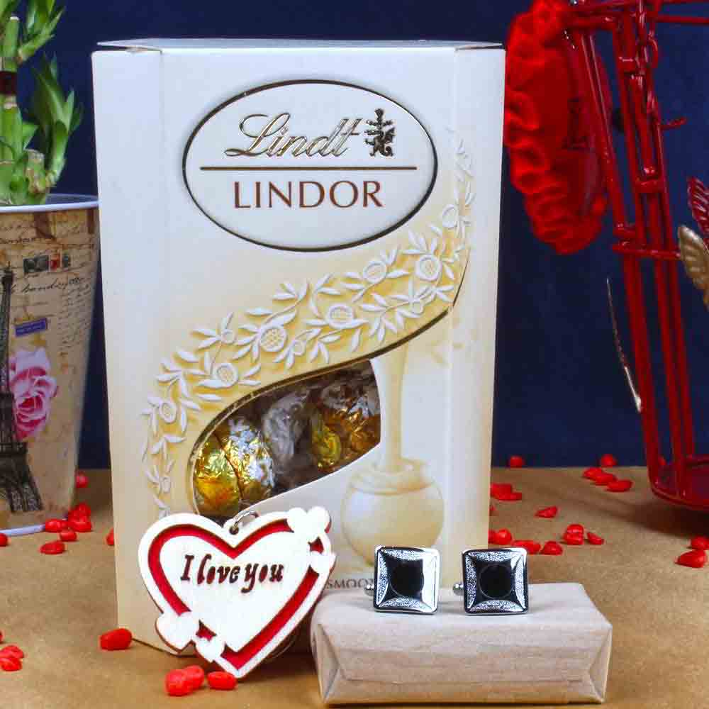 Chocolates-Lindor White Chocolate with Love Key Chain and Square Designer Cufflinks