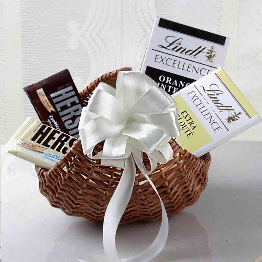 Chocolates-Lindt Chocolates in Cane Basket