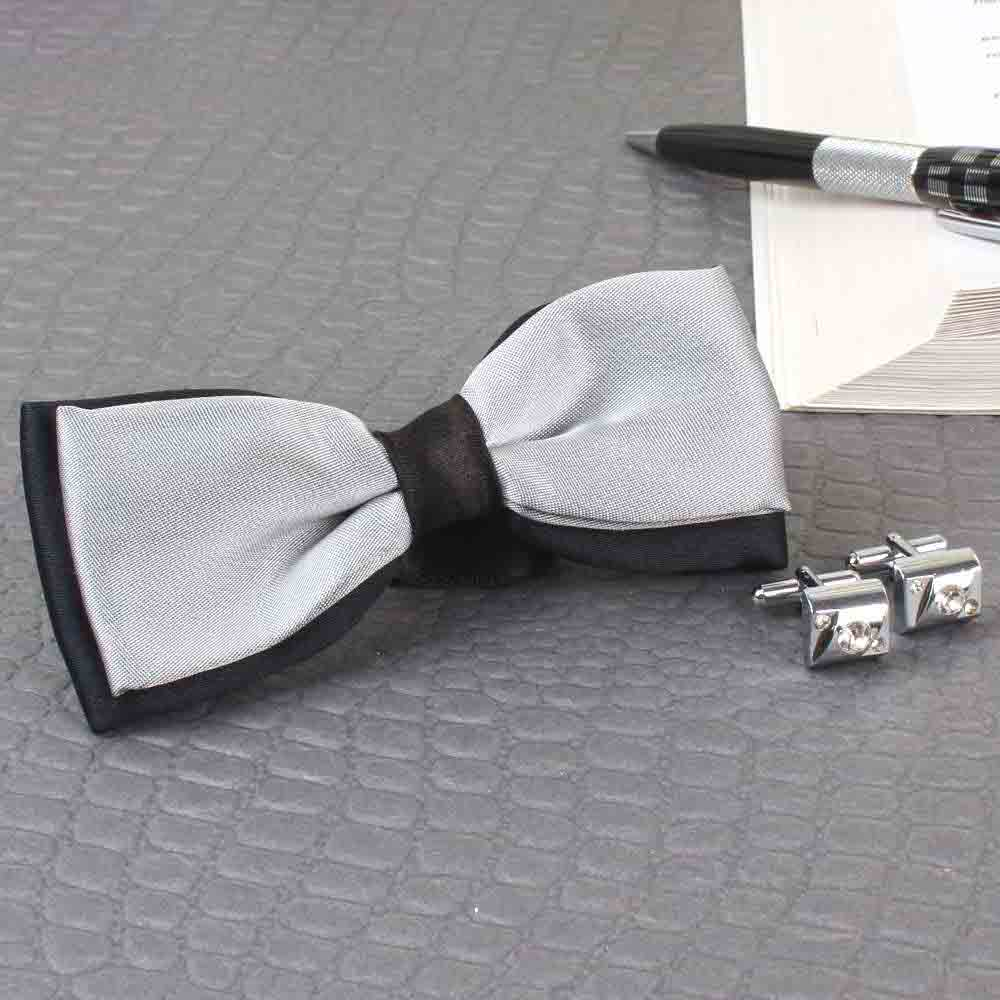 Jewelry-Micro Jacquard Bow Tie with Silver Cufflink