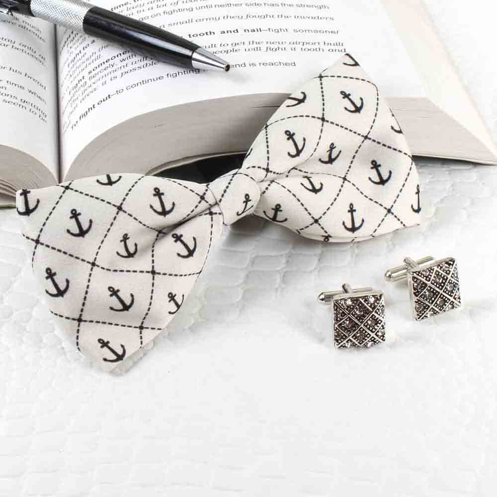 Jewelry-Anchor Polyester Suede Bow with Cufflinks