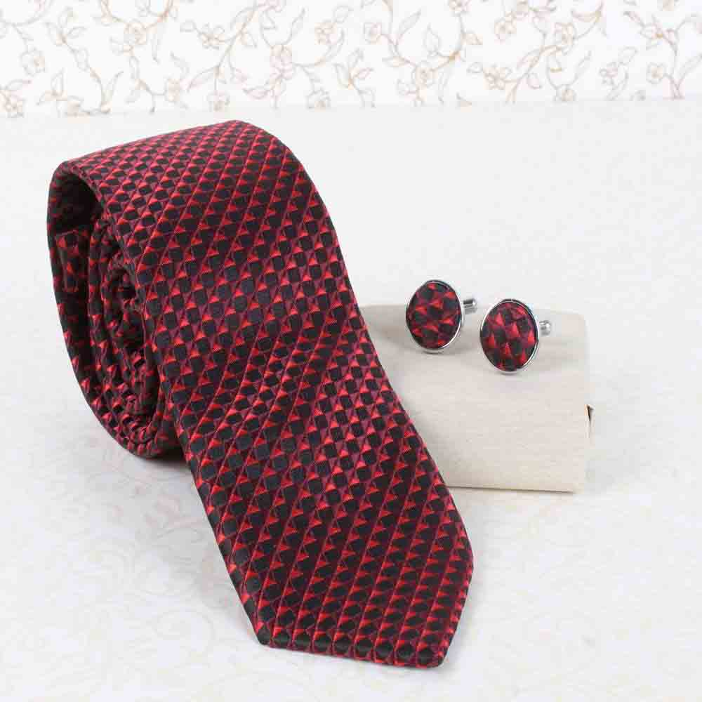 Red Marron Tie and Cufflink