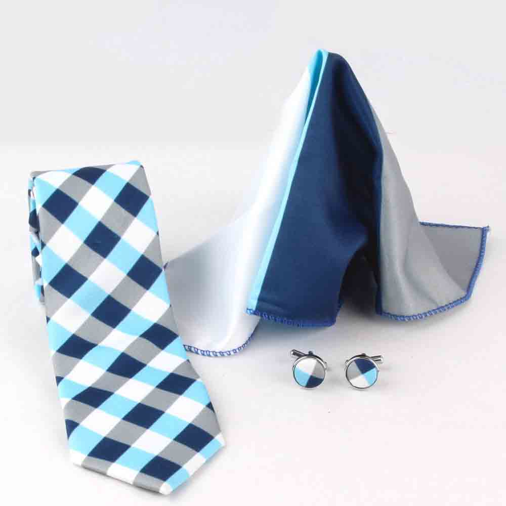 Jewelry-Polyester Tie, Cufflinks and Handerchief