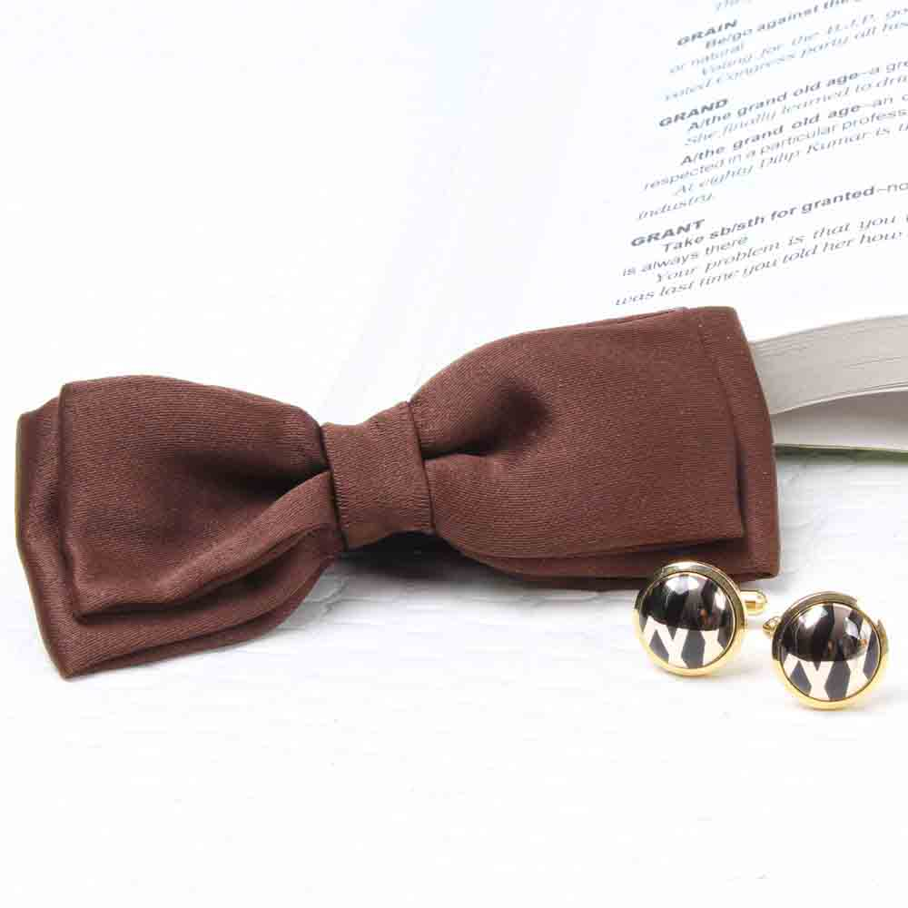 Jewelry-Polyester Brown Bow Tie and Cufflink Set