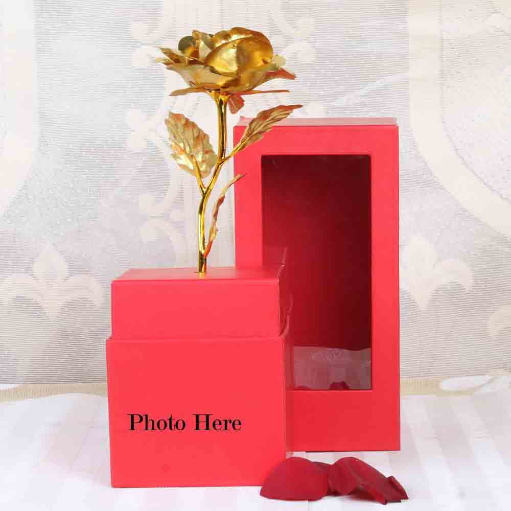 Personalized Photo on Gold Rose Box