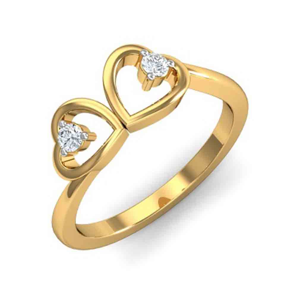 Heart In Heart Diamond Finger Ring