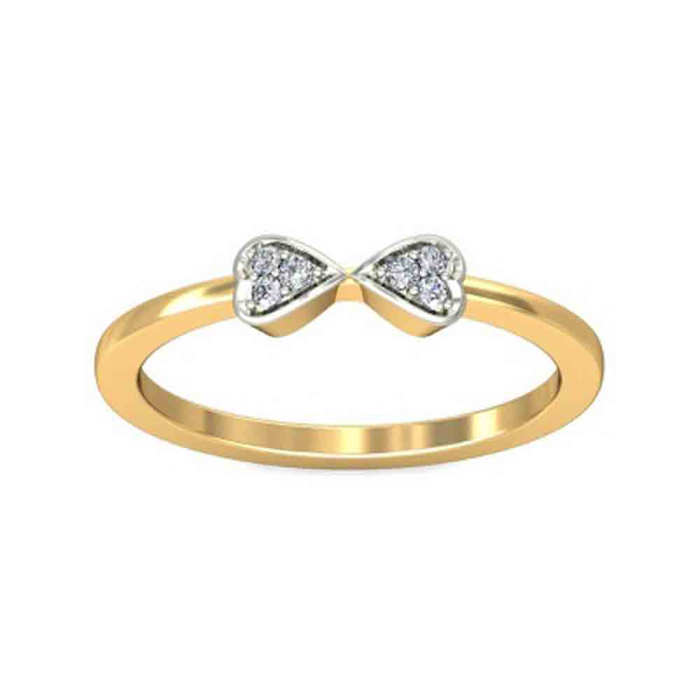 Valentines Special Dual Heart Diamond Finger Ring