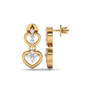 Jewelry-Valentines Special Hearts Diamond Earrings