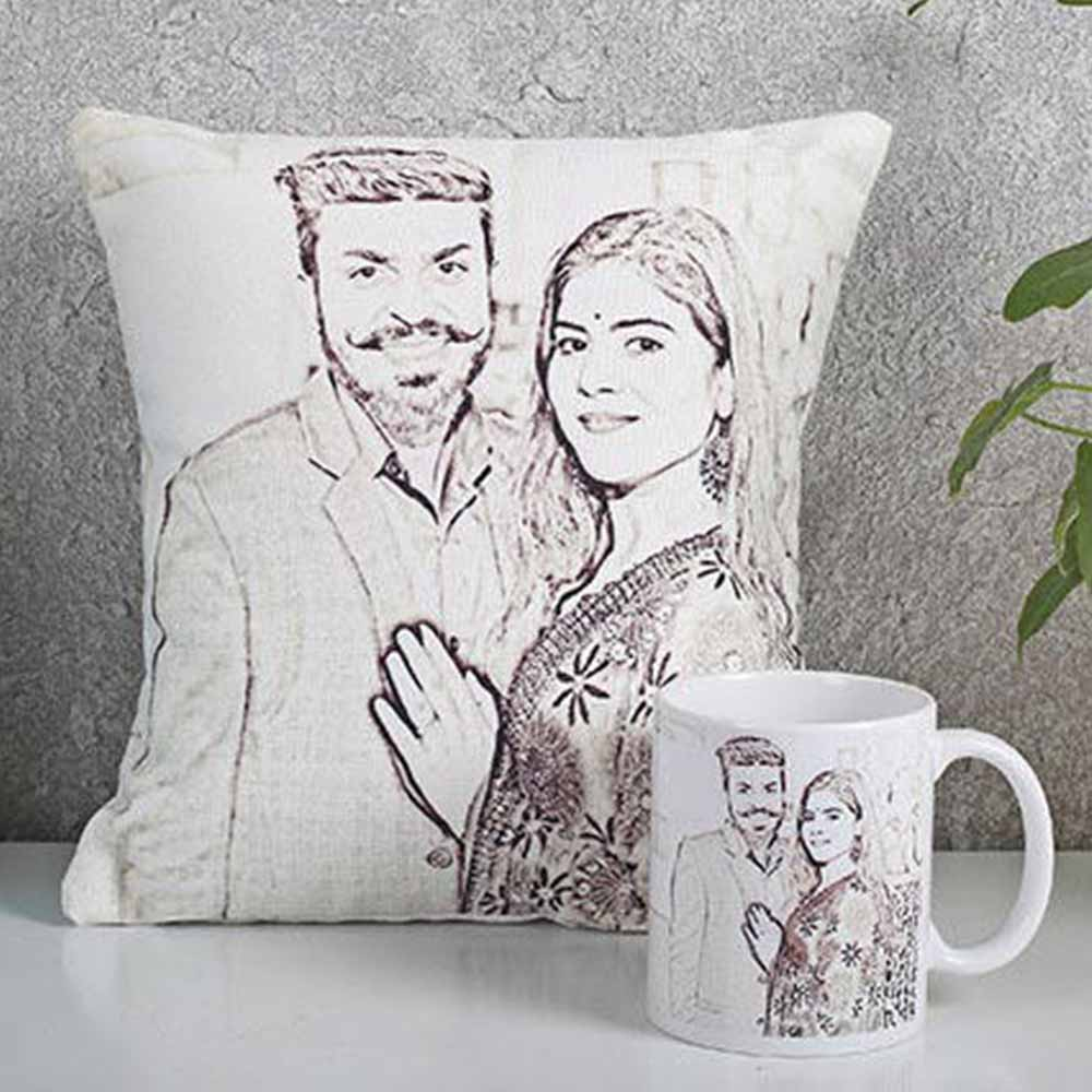 Personalized Gifts-Personalized Couple Cushion N Mug Combo