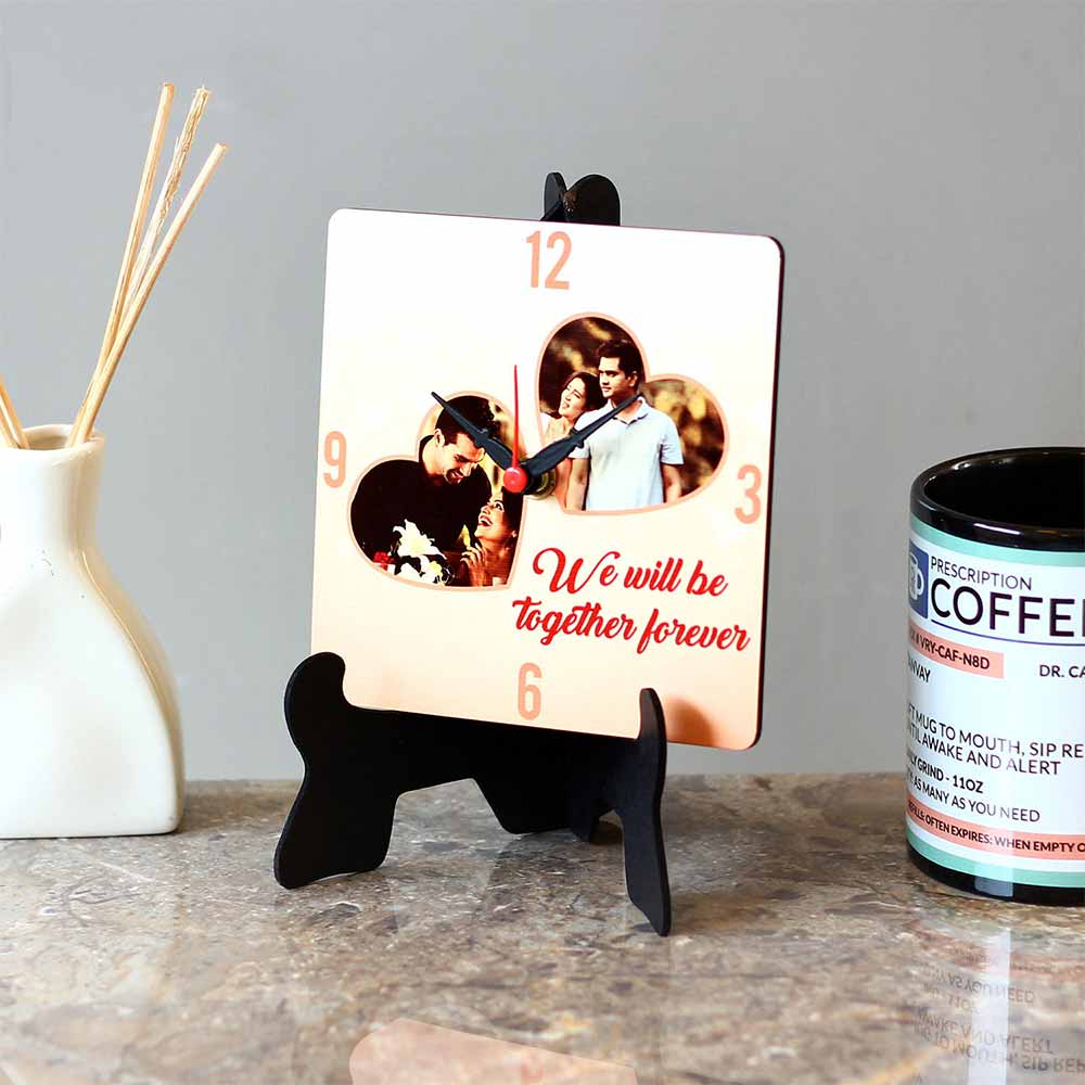 Personalised Together Forever MDF Table Clock