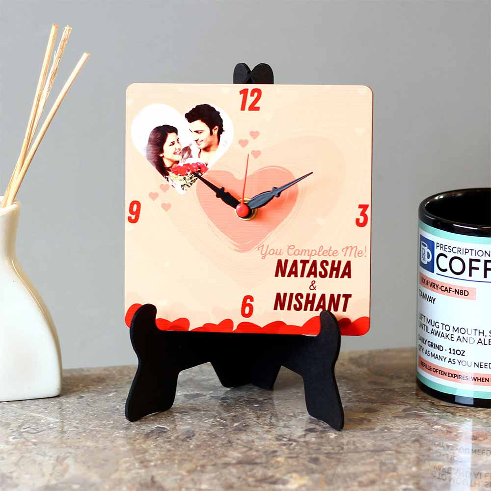 Personalized Gifts-Personalised Couple Name MDF Table Clock