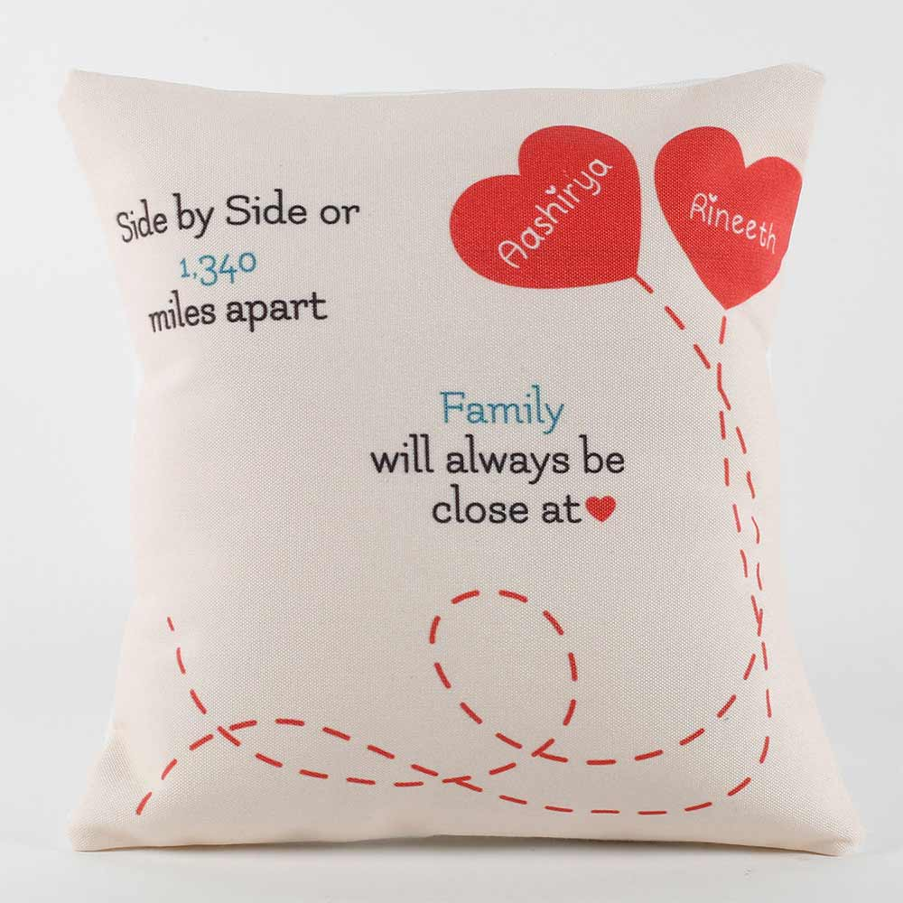 Love Over Miles Personalised Cushion