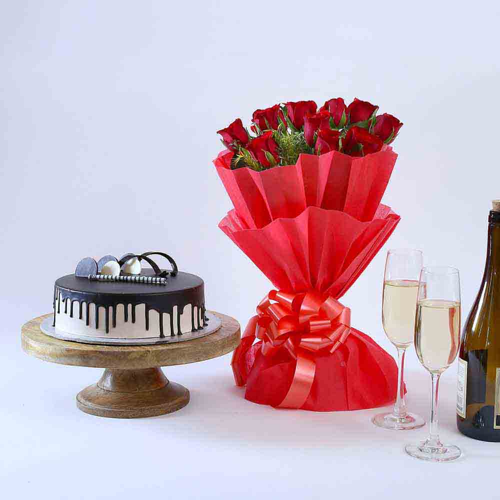 Flowers & Cakes-Beautiful Red Rose Hamper