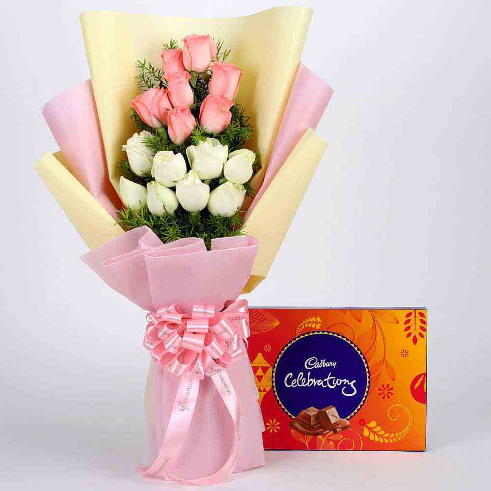 Pink & White Roses & Cadbury Celebrations