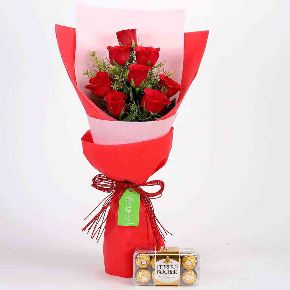 Flowers & Chocolates-8 Red Roses with Ferrero Rocher Combo