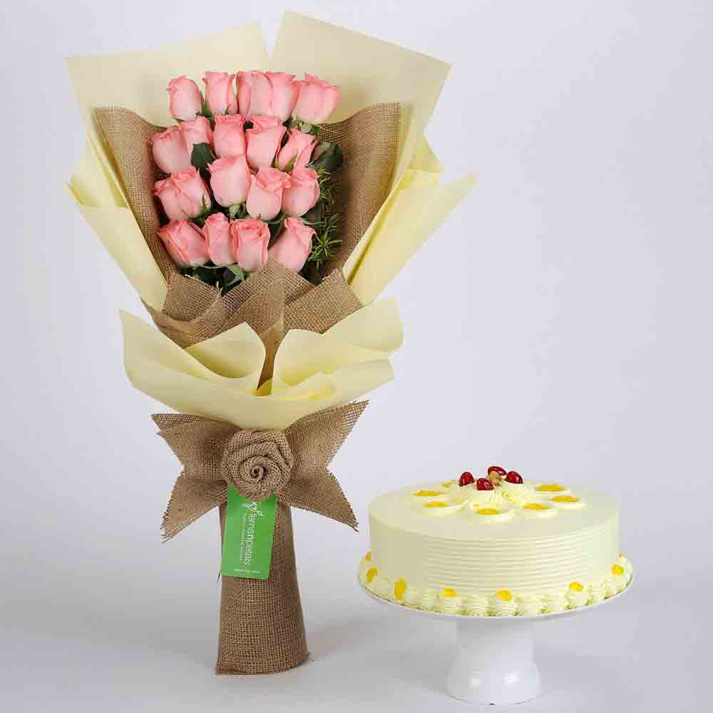 20 Pink Roses Bouquet & Butterscotch Cake
