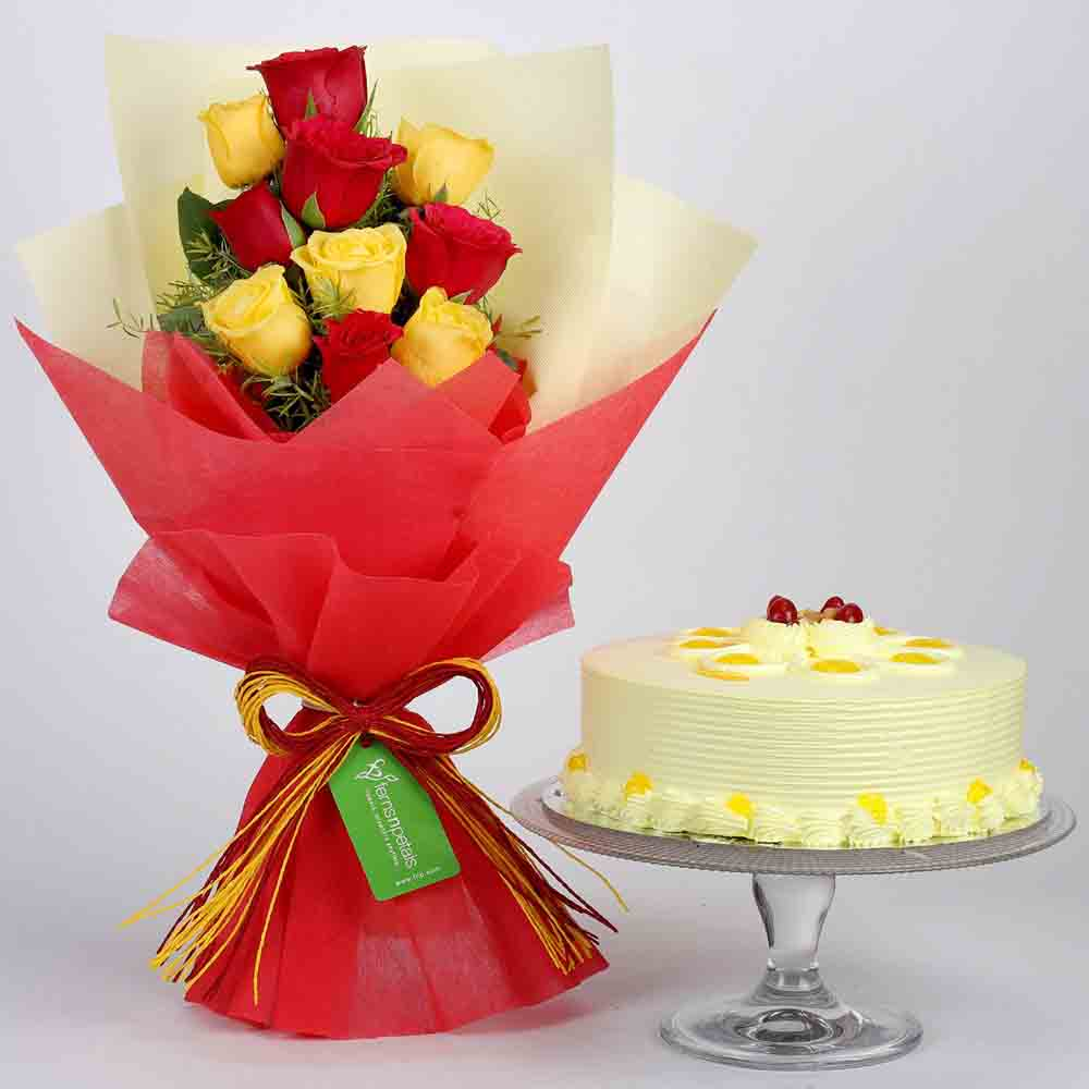 Red & Yellow Roses with Butterscotch Cake