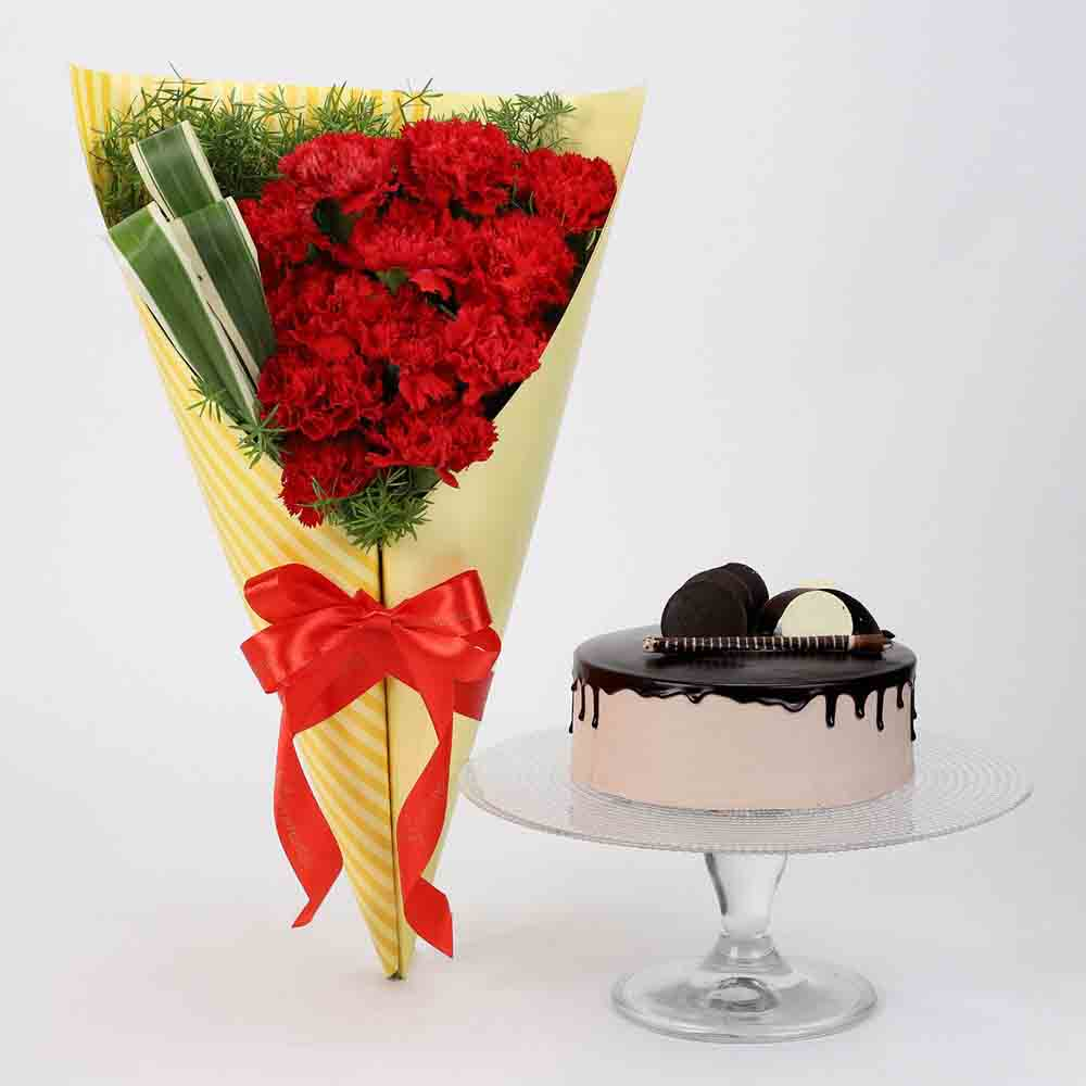 12 Red Carnations & Chocolate Cake