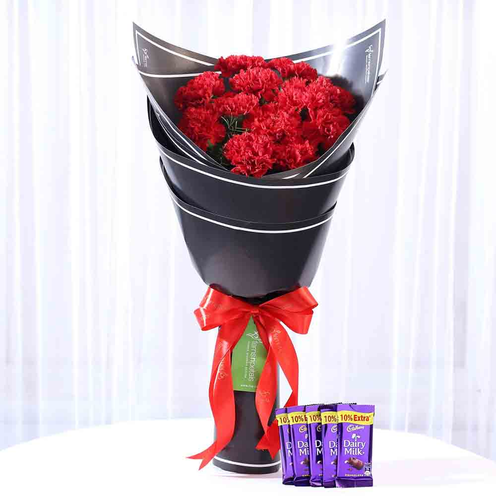Beautiful 12 Red Carnations & Dairy Milk Combo