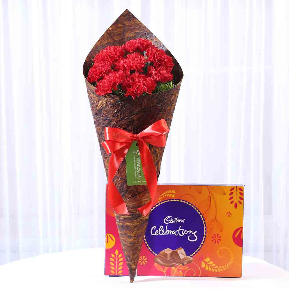 8 Vibrant Red Carnations & Celebrations Box