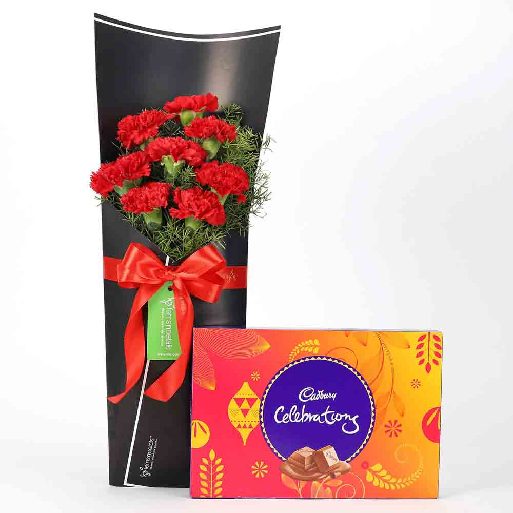 8 Red Carnations Bouquet & Celebrations Box