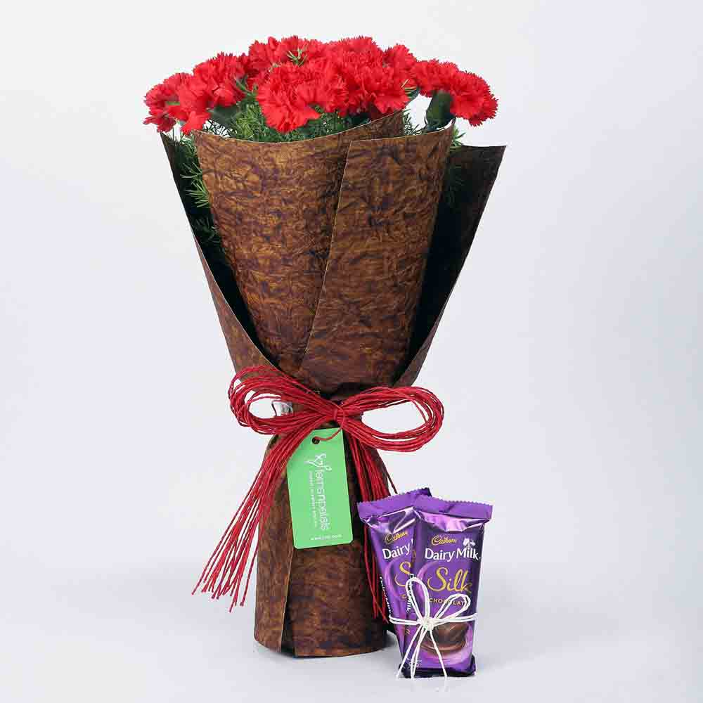 12 Red Carnations Bouquet & Dairy Milk Silk Combo