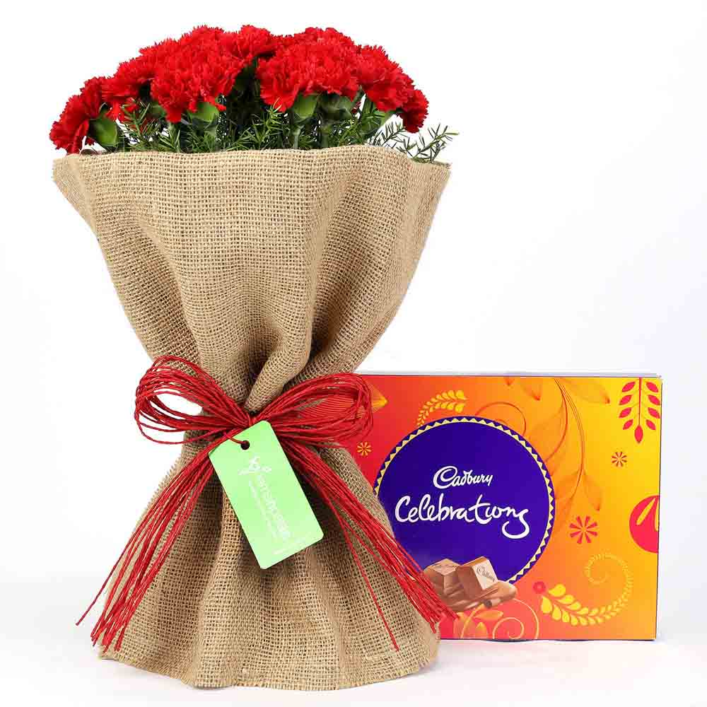 Celebrations Box & 12 Red Carnations Bouquet