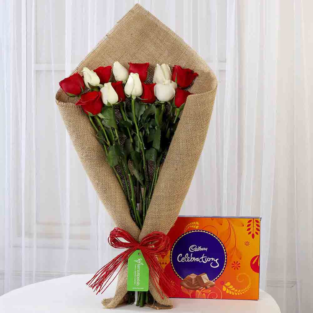 Red & White Roses with Cadbury Celebrations