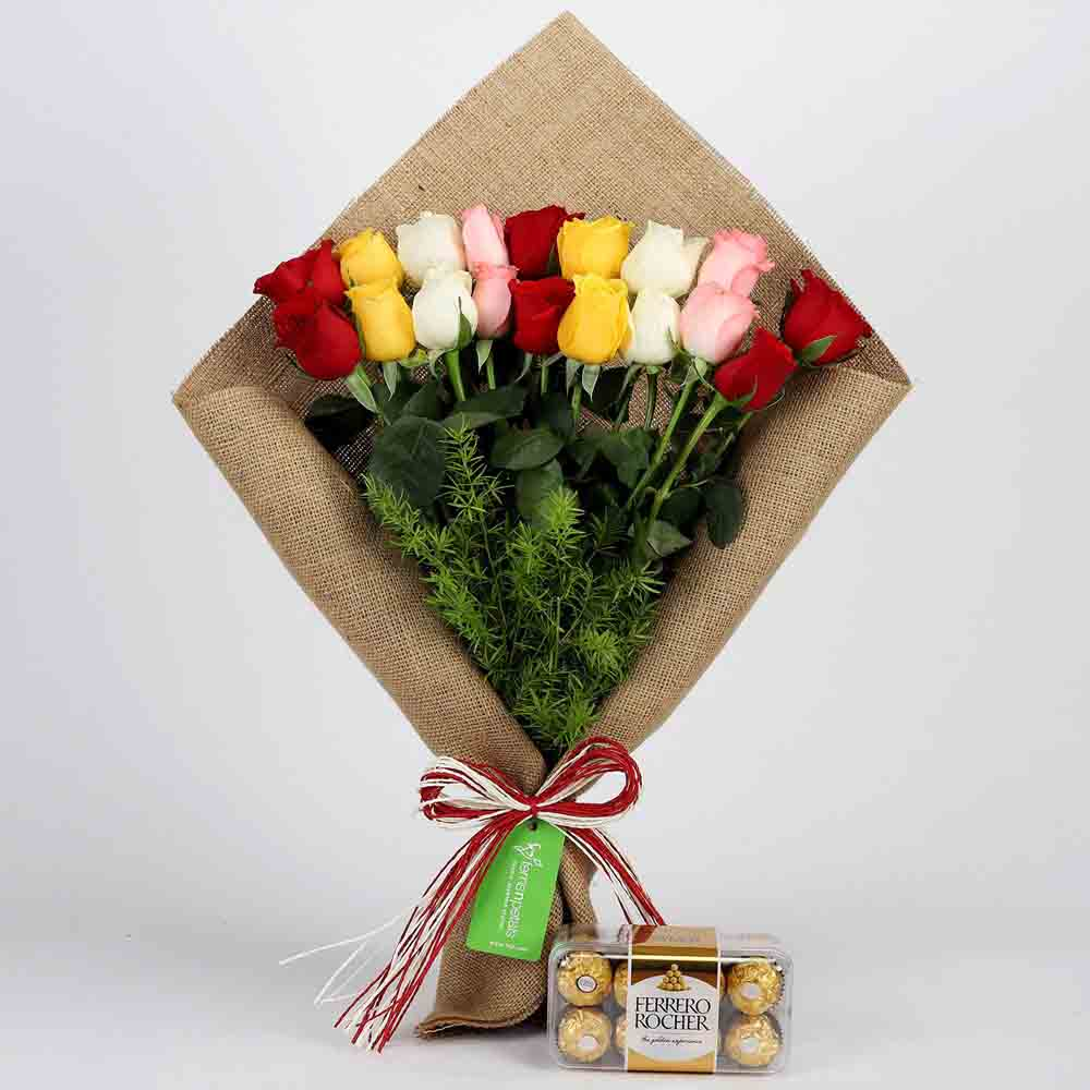 Flowers & Chocolates-Mix Roses Bouquet & Ferrero Rocher Box
