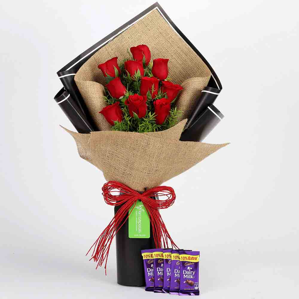 10 Red Roses & Cadbury Dairy Milk Combo