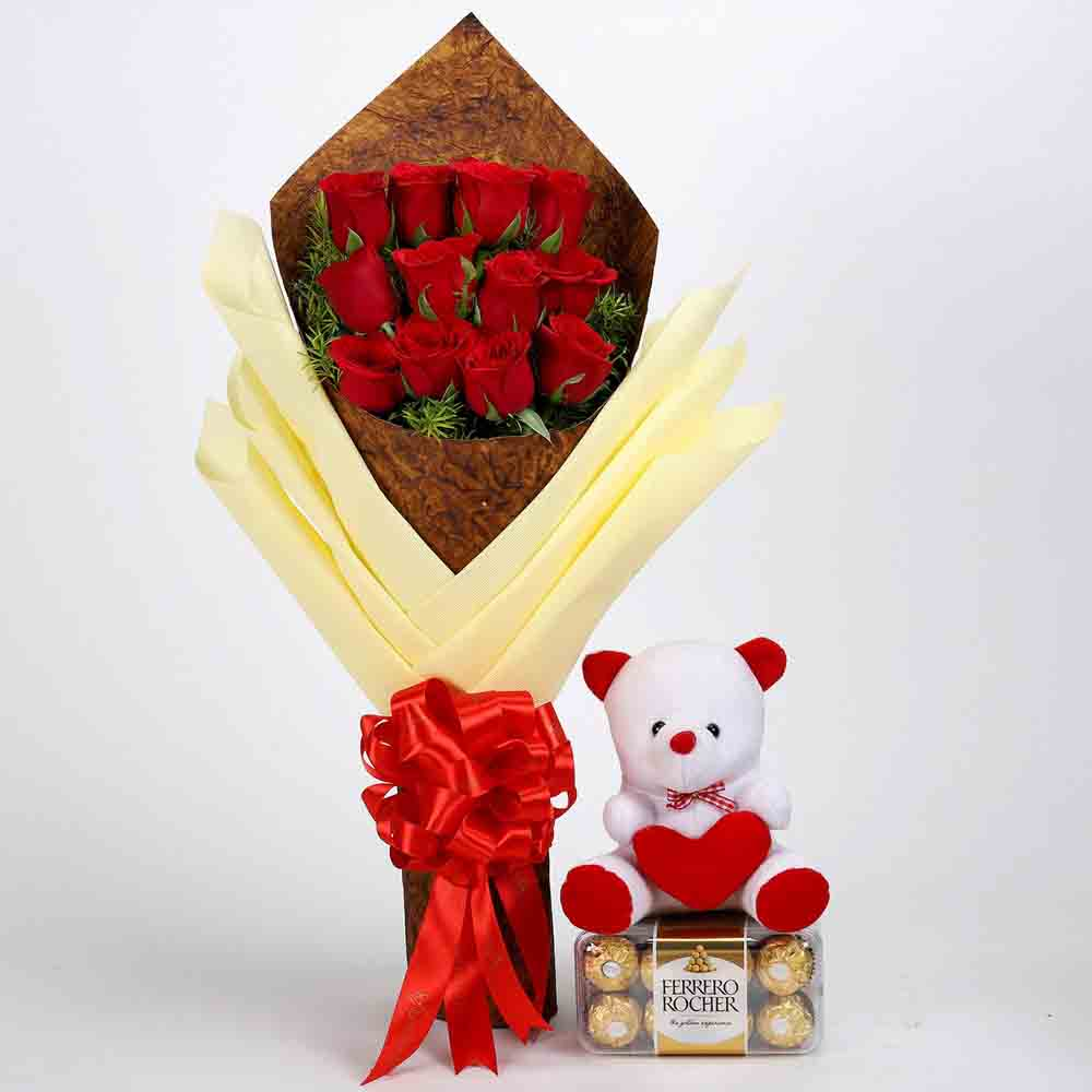 Roses with Teddy Bear & Ferrero Rocher Box