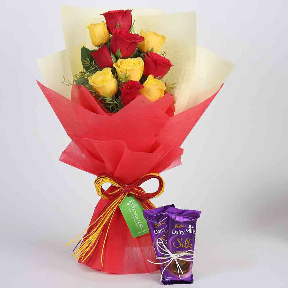 Red & Yellow Roses with Dairy Milk Silk