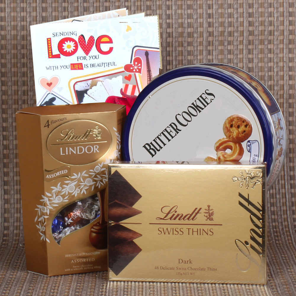 Valentine Hampers-Imported Chocolates and Cookies Combo