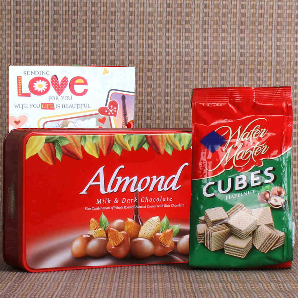 Gift of Almond Chocolate and Wafer Chocolate Cubes