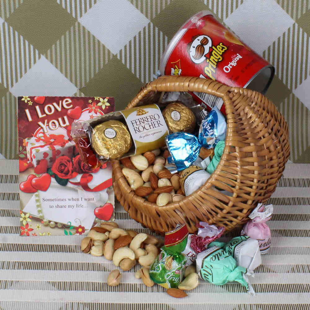 Dryfruit and chocolate basket hamper for Valentines Day