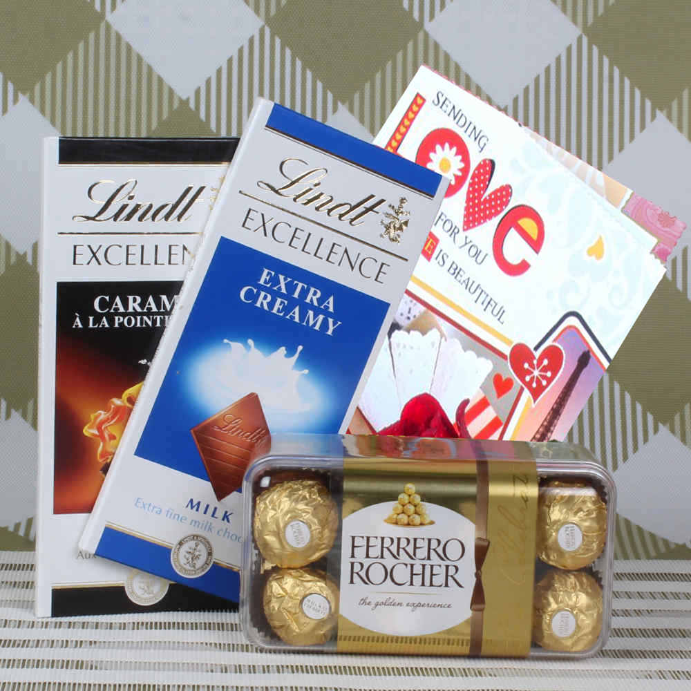 Lindt and Rocher hamper with Valentines Day Greeting card