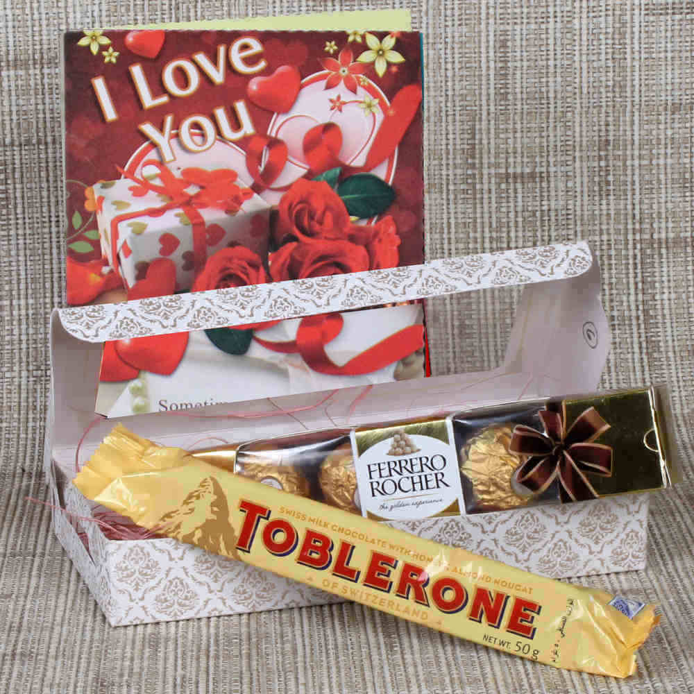 Valentine Hampers-Ferrero Rocher and Toblerone with Love Greeting Card
