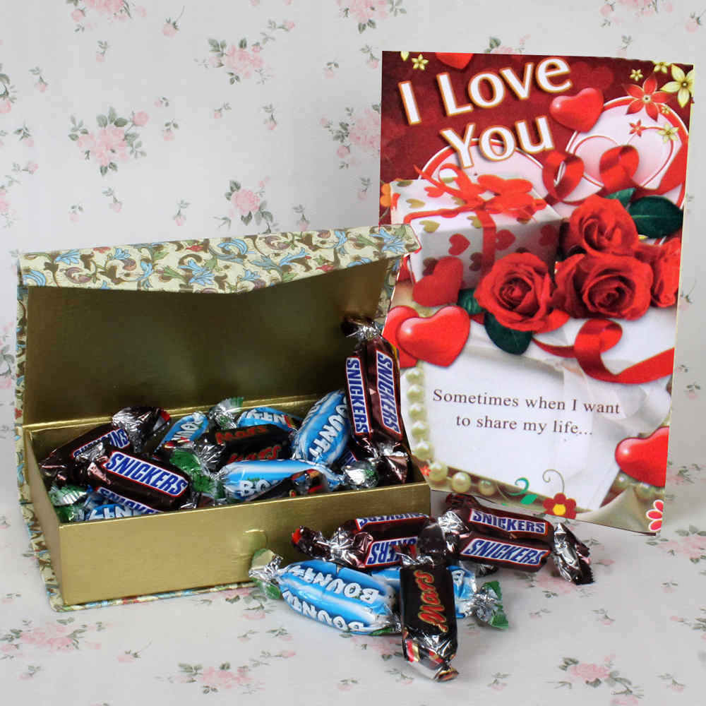 Valentine Hampers-Imported Miniature Chocolate Hamper for Valentines Day