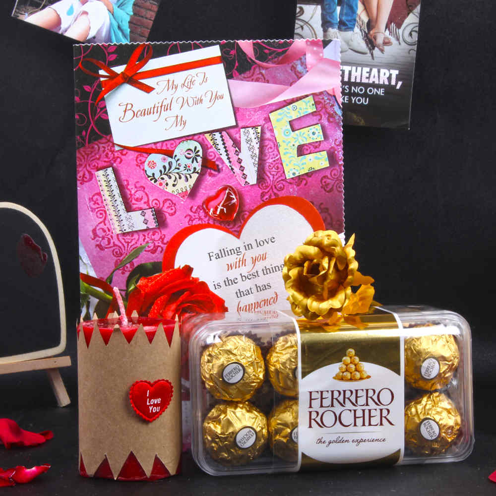 Ferrero Rocher Chocolates with Love Gold Plated Rose Hamper