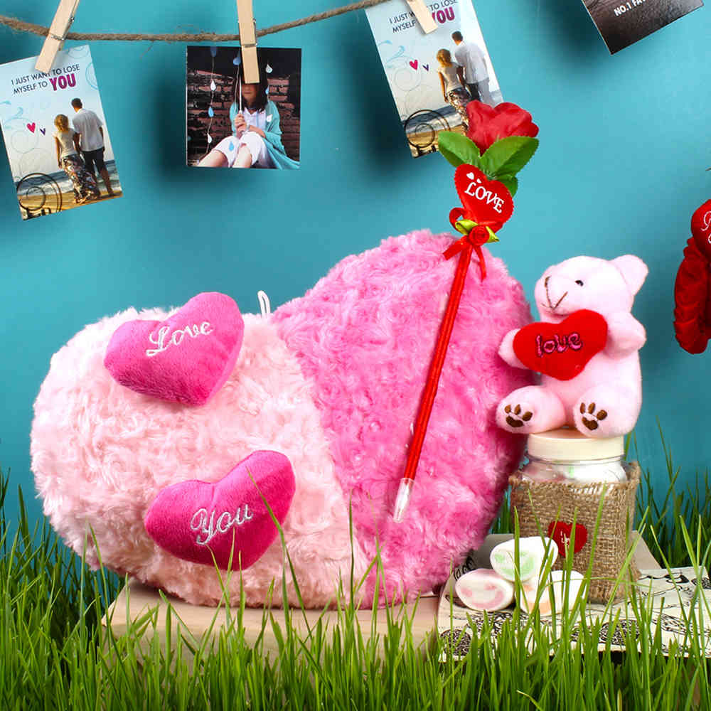 Dual Color Shades Heart Cushion with Artificial Rose and Teddy including Marshmallow