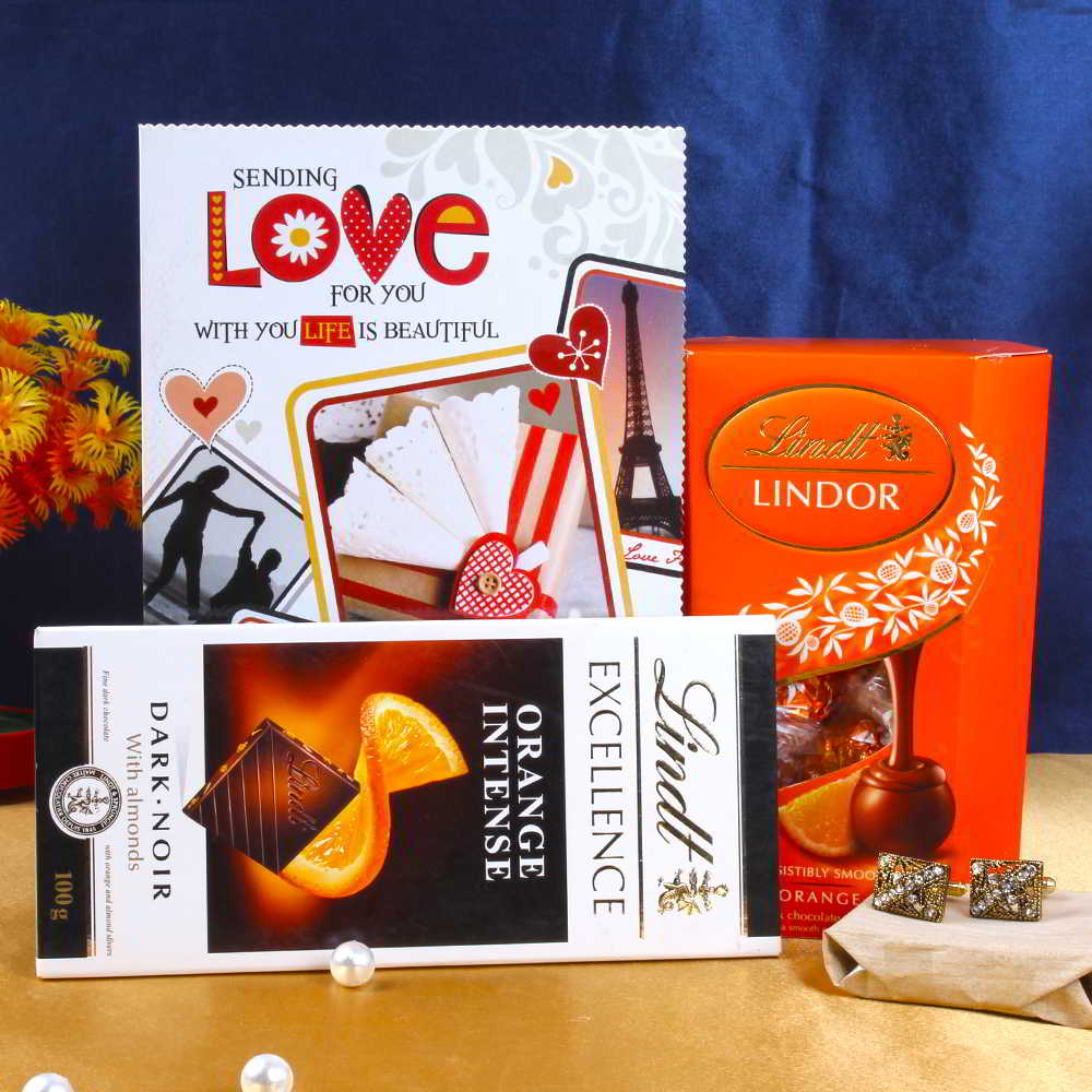Lindt Chocolate Set with Ethnic Design Golden Cufflink and Love Greeting Card