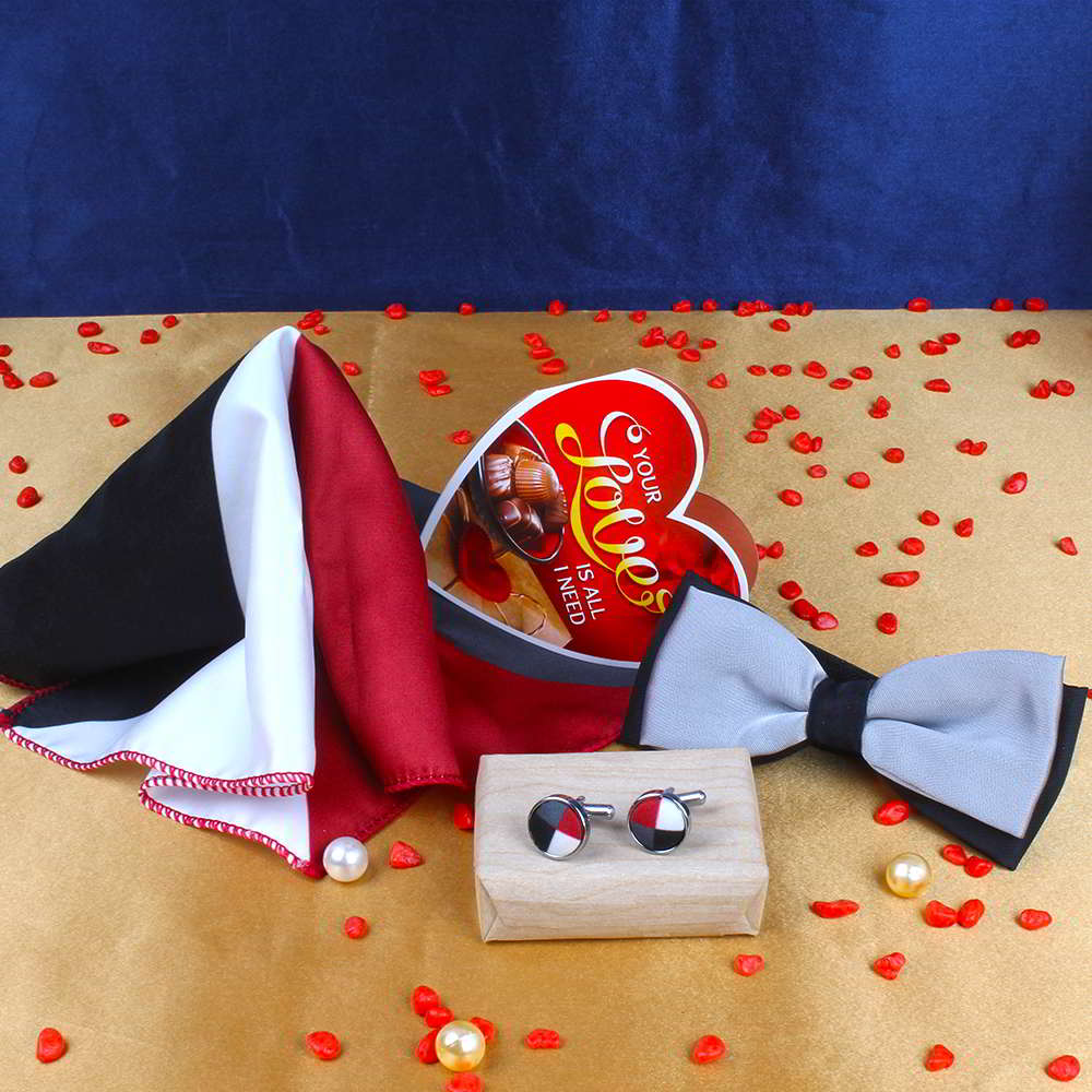 Cufflink Handkerchief with Silver Panel Bow and Love Card