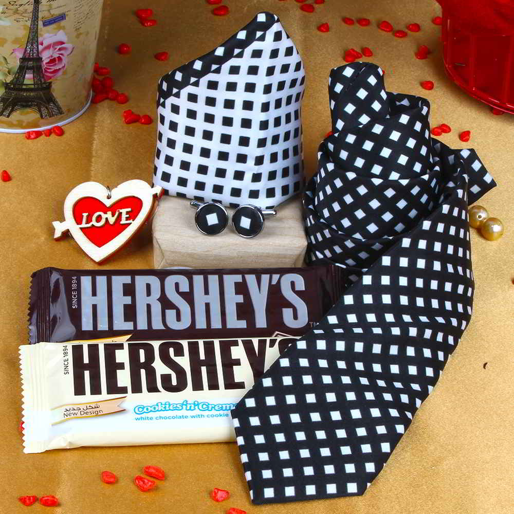 Black White Tie Combination Gift with Hersheys Chocolate and Love Key Chain