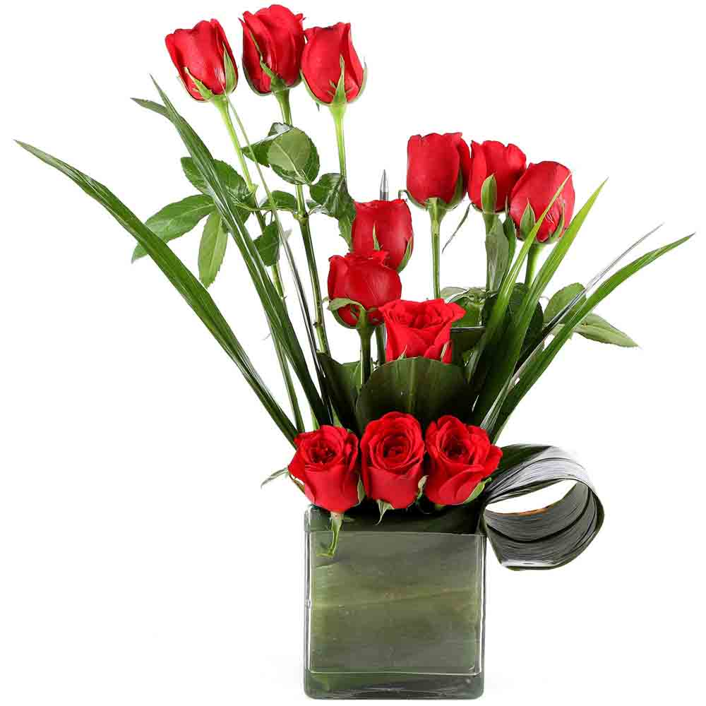 Valentine Roses-Beautiful Red Roses Vase Arrangement