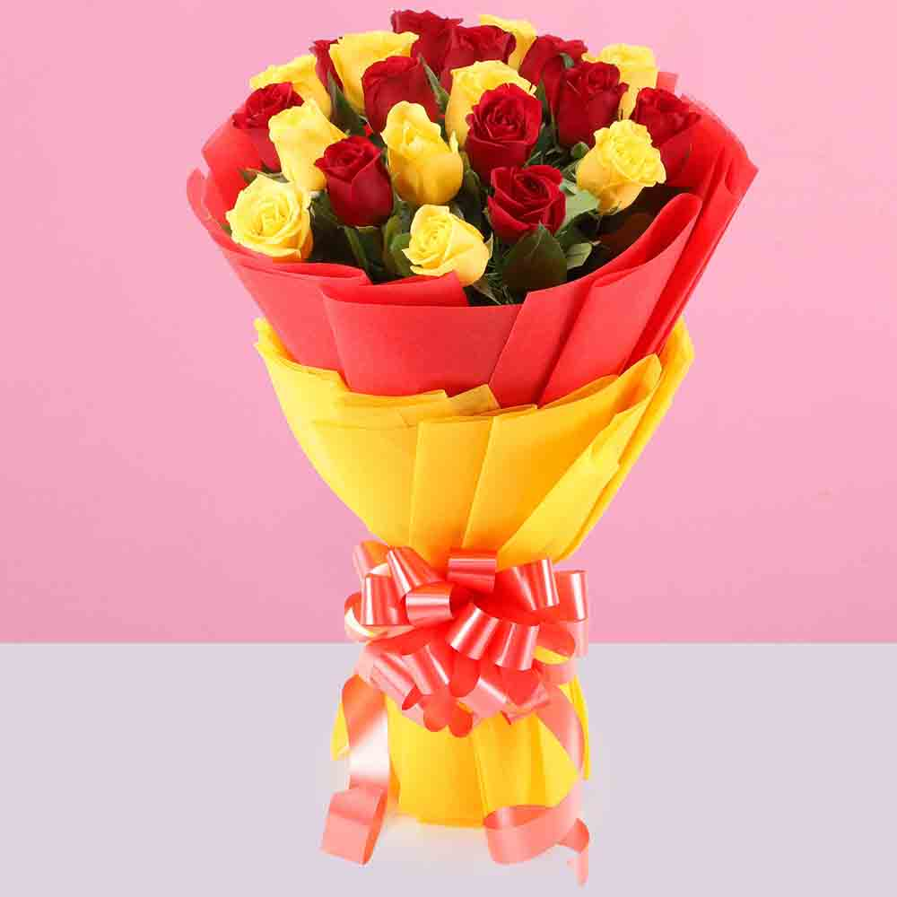 Valentine Roses-Ravishing Red Yellow Roses Bouquet
