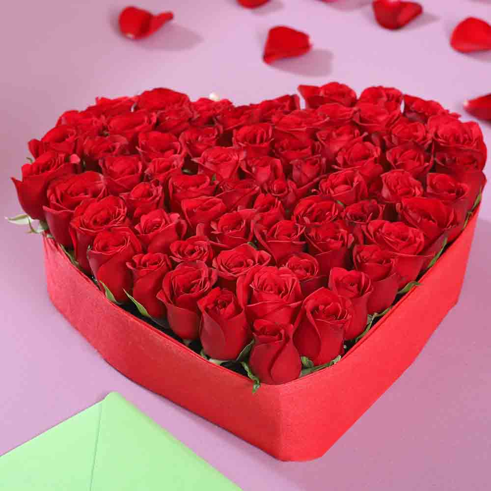Valentine Roses-Beautiful Heart Shaped Roses Arrangement